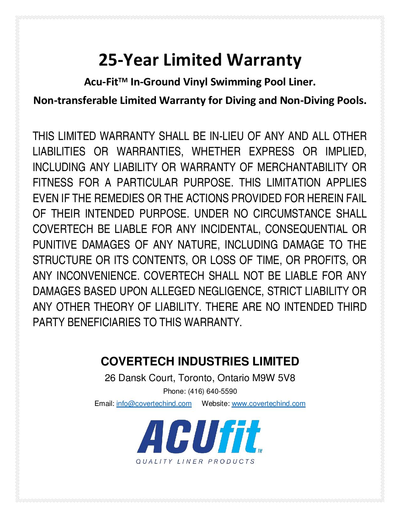 25 Year Limited Warranty Covertech Industries
